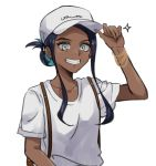 1girl alternate_costume aqua_hair arm_up backpack bag baseball_cap black_hair blue_eyes brown_backpack clenched_teeth collarbone commentary_request dark_skin echizen_(n_fns17) eyelashes hair_bun hand_on_headwear hat highres looking_at_viewer multicolored_hair pokemon pokemon_(game) pokemon_swsh rurina_(pokemon) shirt short_sleeves sidelocks simple_background solo sparkle teeth two-tone_hair white_background white_headwear white_shirt