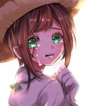 1girl beni_ttt blush brown_hair character_request commentary_request from_side gloves green_eyes hat highres identity_v looking_at_viewer parted_lips shirt short_hair sidelocks simple_background solo sun_hat tears upper_teeth white_background white_gloves white_shirt