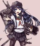 1girl akatsuki_(kantai_collection) anchor anchor_symbol badge black_legwear black_sailor_collar cannon flat_cap hair_between_eyes hat kantai_collection kurou_(bcrow) loafers long_hair machinery messy_hair neckerchief pantyhose pleated_skirt purple_hair red_neckwear sailor_collar school_uniform searchlight serafuku shield shoes skirt smokestack turret violet_eyes