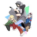 1boy 2girls armband black_legwear blonde_hair cape cosplay costume_switch crossdressing fate/grand_order fate_(series) fur_trim gloves gray_(lord_el-melloi_ii) gray_(lord_el-melloi_ii)_(cosplay) grey_hair hat highres hood hoodie kneehighs long_hair lord_el-melloi_ii_case_files multiple_girls pantyhose peaked_cap reines_el-melloi_archisorte reines_el-melloi_archisorte_(cosplay) skirt tsurutsuru_mi waver_velvet waver_velvet_(cosplay) white_gloves