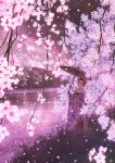 1girl black_eyes black_hair cherry_blossoms day grass hair_ornament highres japanese_clothes kimono kun52 obi oriental_umbrella original outdoors pink_theme sash scenery solo spring_(season) standing umbrella water wide_sleeves