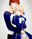 1boy 1girl artoria_pendragon_(all) black_pants blonde_hair blue_ribbon blue_sleeves braid braided_bun closed_eyes emiya_shirou fate/stay_night fate_(series) grey_background hair_ribbon head_tilt highres hug hug_from_behind long_sleeves open_mouth pants redhead ribbon saber shirt short_hair shrug_(clothing) simple_background skirt smile suzuakks white_shirt