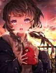 1girl absurdres bangs beni_ttt black_jacket black_ribbon blush brown_hair brown_jacket clouds cloudy_sky collared_shirt commentary_request evening gift hair_ribbon heart highres holding holding_gift jacket long_hair looking_at_viewer open_mouth original outdoors pink_eyes red_sky ribbon shirt sky sleeves_past_wrists solo sunset twilight upper_teeth valentine white_shirt
