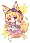 1girl :o animal_ear_fluff animal_ears bangs black_cape black_footwear black_headwear blonde_hair blush cape chibi commentary_request dress ears_through_headwear eyebrows_visible_through_hair floral_background flower flower_knight_girl fox_ears fox_girl fox_tail full_body hairband hat hood hood_up hooded_cape kitsune_no_botan_(flower_knight_girl) knees_together_feet_apart long_hair long_sleeves looking_at_viewer low_twintails mini_hat mini_top_hat object_namesake parted_lips paw_shoes red_eyes ryuuka_sane shoe_soles shoes solo tail tilted_headwear top_hat twintails white_dress yellow_cape yellow_flower yellow_hairband