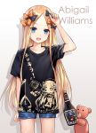 1girl abigail_williams_(fate/grand_order) asle bangs black_bow black_shirt blonde_hair blue_eyes blue_shorts blush bottle bow breasts character_name denim denim_shorts fate/grand_order fate_(series) forehead hair_bow long_hair looking_at_viewer multiple_bows open_mouth orange_bow parted_bangs polka_dot polka_dot_bow shirt short_shorts short_sleeves shorts small_breasts smile stuffed_animal stuffed_toy teddy_bear thighs translation_request