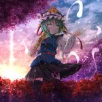 1girl :o absurdres arm_ribbon arm_up bangs belt black_legwear black_skirt blue_vest bright_pupils clouds diffraction_spikes epaulettes eyebrows_visible_through_hair feet_out_of_frame flower gradient_sky green_eyes green_hair hat hat_ribbon highres hitodama holding_rod huge_filesize juliet_sleeves kakutasu_(akihiron_cactus) leaning_back long_sleeves looking_to_the_side puffy_sleeves ribbon ribbon-trimmed_skirt ribbon_trim rod_of_remorse shiki_eiki shirt short_hair skirt sky solo spider_lily standing sunset thigh-highs touhou twilight vest white_shirt wind wind_lift