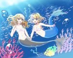 2girls air_bubble alice_margatroid alternate_form blonde_hair blue_eyes blurry blurry_background braid breasts bubble collarbone commentary_request coral freediving hair_ribbon hairband head_fins holding_hands kirisame_marisa light_rays long_hair looking_at_another medium_breasts mermaid monster_girl monsterification multiple_girls navel open_mouth ribbon sasawa_chaco school_of_fish shell shell_bikini single_braid small_breasts sunbeam sunlight test_tube touhou tress_ribbon underwear yellow_eyes