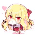 1girl bangs black_ribbon blonde_hair blush bow braid brown_legwear chibi colored_shadow commentary_request covered_mouth eyebrows_visible_through_hair hair_between_eyes hair_bow hair_ribbon hand_up heart jacket long_sleeves looking_at_viewer original outline pink_outline red_bow red_eyes red_footwear red_skirt ribbon shadow shikitani_asuka single_thighhigh skirt sleeves_past_fingers sleeves_past_wrists slit_pupils solo standing striped striped_bow thigh-highs twitter_username white_background white_jacket