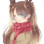 1girl bangs black_bow blue_eyes bow brown_hair brown_sweater casual closed_mouth eyebrows_visible_through_hair fate/stay_night fate_(series) hair_between_eyes hair_bow long_hair plaid plaid_scarf red_scarf ro96cu scarf shiny shiny_hair simple_background smile solo sweater tohsaka_rin twintails upper_body very_long_hair white_background