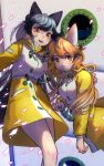 2girls animal_ears bangs bare_legs blush buttons cherry_blossoms coat ezo_red_fox_(kemono_friends) fox_ears fox_tail glowing grey_hair hand_on_shoulder highres kemono_friends kemono_friends_3 leaning long_hair looking_at_viewer multicolored multicolored_clothes multiple_girls open_mouth orange_eyes orange_hair outdoors petals raincoat ship signature silver_fox_(kemono_friends) smile tail v watercraft welt_(kinsei_koutenkyoku) wind window yellow_coat