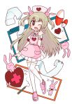 >_< 1girl ;d apron armband bandaged_arm bandaged_wrist bandages bangs blush bunny_hair_ornament cardiogram clipboard commentary_request dress eyebrows_visible_through_hair fang full_body hair_ornament hat heart light_brown_hair long_hair looking_at_viewer mikan_(mikabe) natori_sana nurse_cap one_eye_closed open_mouth open_toe_shoes pencil pill pink_apron pink_headwear puffy_short_sleeves puffy_sleeves rabbit sana_channel short_sleeves simple_background skin_fang smile spread_fingers standing standing_on_one_leg thigh-highs two_side_up virtual_youtuber waving white_dress white_legwear whiteboard zettai_ryouiki