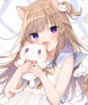 1girl :3 :d animal_ear_fluff animal_ears bangs bare_arms bare_shoulders blue_sailor_collar blush bow bowtie brown_hair cat_ears cat_girl cat_hair_ornament cat_tail commentary_request detached_wings dress eyebrows_visible_through_hair fang hair_ornament hairclip hands_up highres holding holding_stuffed_animal leo_(mafuyu) looking_at_viewer mafuyu_(chibi21) mini_wings multicolored_hair one_side_up open_mouth original purple_hair red_neckwear sailor_collar sailor_dress sleeveless sleeveless_dress smile solo star_(symbol) star_hair_ornament streaked_hair stuffed_animal stuffed_cat stuffed_toy tail tail_bow tail_raised violet_eyes white_background white_dress white_wings wings yellow_bow