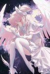 1girl dress goddess_madoka kaname_madoka mahou_shoujo_madoka_magica pink_hair solo wanke white_dress wings yellow_eyes