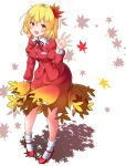 1girl aka_tawashi aki_shizuha autumn_leaves blonde_hair blush breasts collared_shirt eyebrows_visible_through_hair gradient_clothes gradient_skirt hair_ornament hairband high_heels highres leaf leaf_hair_ornament legs looking_at_viewer maple_leaf open_mouth red_footwear red_shirt red_skirt shirt short_hair skirt smile socks strappy_heels touhou waving white_background white_legwear wide_hips yellow_eyes