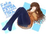 1girl anniversary bangs blue_legwear blunt_bangs blush brown_eyes brown_hair brown_jacket brown_skirt copyright_name eating fate/extra fate_(series) food full_body hasai_(mekkan) holding holding_food jacket kishinami_hakuno_(female) long_hair long_sleeves miniskirt no_shoes number pantyhose pleated_skirt sidelocks skirt sleeves_past_wrists solo thighband_pantyhose two-tone_background wavy_mouth