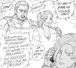 1girl 2boys annoyed bb_(baalbuddy) bulletproof_vest chris_redfield claire_redfield commentary dog_tags english_commentary english_text facial_hair greyscale h highres holding holding_phone jitome leon_s_kennedy monochrome multiple_boys open_mouth phone ponytail profanity resident_evil resident_evil_5 smile stubble wide-eyed