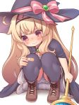 1girl bandaid bandaid_on_clothes bandaid_on_knee blonde_hair bloomers boots bow cape hairband hat hat_bow kupuru_(hirumamiyuu) little_witch_nobeta long_hair nobeta red_eyes squatting staff tears underwear very_long_hair witch witch_hat