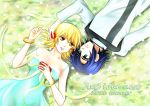 1boy 1girl 2016 athrun_zala blonde_hair blue_dress blue_hair bracelet brown_eyes cagalli_yula_athha collarbone couple dress eye_contact flower from_above green_eyes gundam gundam_seed hair_flower hair_ornament jacket jewelry long_sleeves looking_at_another lying off_shoulder on_back parubinko red_flower ring shiny shiny_hair short_hair sleeveless sleeveless_dress wedding_ring white_jacket