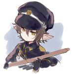bangs black_cape black_gloves black_headwear black_jacket brown_eyes brown_hair cape character_request closed_mouth collared_jacket commentary_request gloves granblue_fantasy grey_background hair_between_eyes harvin hat holding holding_sword holding_weapon jacket looking_at_viewer meito_(maze) peaked_cap pointy_ears sketch sword two-tone_background upper_body weapon white_background wooden_sword