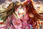 2girls ballpoint_pen_(medium) bangs blue_eyes blurry blurry_background blush brown_hair closed_mouth couple embarrassed eye_contact eyebrows_visible_through_hair floating_hair floral_print flower from_side fur-trimmed_kimono fur_trim green_eyes hair_between_eyes hair_flower hair_ornament highres holding_hands houjou_hibiki japanese_clothes kimono long_hair long_sleeves looking_at_another minamino_kanade multiple_girls nengajou new_year obi pink_kimono precure print_kimono profile red_flower sash shiny shiny_hair short_twintails smile suite_precure sunset traditional_media twintails very_long_hair white_flower yu-sha-mashi-alo-fa yukata yuri