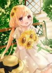 1girl :d ahoge bench black_ribbon blonde_hair blush commentary_request dappled_sunlight dress flower futaba_anzu hair_flower hair_ornament hair_tie hat hat_removed hat_ribbon headwear_removed highres holding holding_flower idolmaster idolmaster_cinderella_girls idolmaster_cinderella_girls_starlight_stage looking_at_viewer open_mouth ribbon rino_cnc short_sleeves smile solo sunflower sunlight twintails violet_eyes white_dress