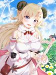 1girl absurdres blonde_hair breasts clouds commentary detached_sleeves hair_ornament hairclip harp highres hololive horns instrument large_breasts long_hair looking_at_viewer open_mouth sheep sheep_horns sky smile solo tsunomaki_watame virtual_youtuber wool