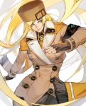 1girl absurdly_long_hair armband blonde_hair blue_eyes buttons capelet coat fingerless_gloves fur_hat gloves guilty_gear guilty_gear_strive hat high_collar highres license_plate long_hair millia_rage simple_background solo uncle_rabbit_ii ushanka very_long_hair white_background