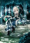 1girl arm_support black_capelet black_dress black_footwear blonde_hair blurry blurry_background bokeh boots bracelet cape capelet commentary day depth_of_field dress forest greatpengh highres hood hood_up hooded_cape jewelry light_particles log long_hair long_sleeves looking_at_viewer low_twintails nature necklace open_mouth original outdoors sitting smile solo sparkle symbol_commentary twintails very_long_hair yellow_eyes