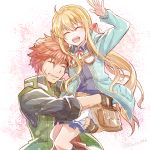 1boy 1girl ^_^ ^o^ agate_crosner ahoge aqua_jacket arm_up belt_pouch black_shirt blonde_hair blue_vest bow carrying closed_eyes collared_shirt eiyuu_densetsu eyebrows_visible_through_hair facial_scar fingerless_gloves gloves goggles goggles_around_neck green_jacket grin hair_between_eyes hair_bow hand_on_another's_head happy jacket long_hair long_sleeves miniskirt mishiro_(andante) neck_ribbon open_clothes open_jacket pleated_skirt ponytail pouch red_ribbon redhead ribbon scar sen_no_kiseki sen_no_kiseki_3 sen_no_kiseki_4 shirt sidelocks skirt sleeveless sleeveless_jacket sleeves_pushed_up smile spiky_hair striped striped_shirt tita_russell twitter_username vertical-striped_shirt vertical_stripes vest