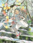 1girl :d absurdres bow fish green_eyes grey_hair highres japanese_clothes kimono lantern looking_at_viewer morning moss open_mouth original paper_lantern platform_footwear sandals short_hair shrine smile snow socks stairs stone sun traditional_media tree tree_branch watercolor_(medium)