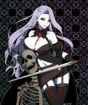 1girl belinda_(unlight) between_breasts black_gloves black_legwear black_sclera breasts cowboy_shot detached_sleeves earrings elbow_gloves garter_straps gem gloves grey_hair grey_skin holding holding_sword holding_weapon jewelry large_breasts lipstick long_hair looking_at_viewer makeup navel parted_lips purple_lipstick skeleton solo sword tb_(spr1110) thigh-highs twitter_username unlight weapon yellow_eyes