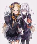 2girls :d abigail_williams_(fate/grand_order) albino bangs black_bow black_dress black_legwear blonde_hair blue_eyes bow closed_mouth cowboy_shot dress embarrassed eyebrows_visible_through_hair fate/grand_order fate_(series) hair_bow holding_toy horns lavinia_whateley_(fate/grand_order) long_hair long_sleeves multiple_girls open_mouth orange_bow pantyhose parted_bangs polka_dot polka_dot_bow purple_dress red_eyes sanpaku simple_background single_horn sleeves_past_fingers sleeves_past_wrists smile sparkle standing stuffed_animal stuffed_toy teddy_bear very_long_hair waltz_(tram) wavy_mouth white_background white_hair white_skin