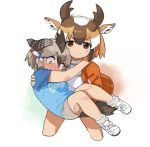 2girls animal_ears arm_around_neck bare_arms bare_legs bike_shorts bird_tail black_hair blush brown_eyes brown_hair carrying closed_mouth clothes_writing cropped_legs embarrassed extra_ears eyebrows_visible_through_hair greater_roadrunner_(kemono_friends) grey_eyes grey_hair hair_tubes hand_on_another's_shoulder hand_on_another's_thigh highres horizontal_pupils horns jacket kemono_friends light_brown_hair looking_at_viewer looking_down multiple_girls nose_blush princess_carry pronghorn_(kemono_friends) rinx shirt shoes short_hair short_sleeves sidelocks simple_background smile sportswear t-shirt tail tearing_up v-shaped_eyebrows white_background white_hair