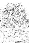 1girl commentary_request dust_cloud frame_arms frame_arms_girl gourai gourai_(frame_arms) greyscale gun headgear highres kumichou_(ef65-1118-ef81-95) looking_away mecha mecha_musume monochrome rifle short_hair shoulder_cannon sketch traditional_media weapon