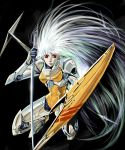 1980s_(style) 1girl agahari ariel_(mecha) ariel_(novel) black_background floating_hair holding holding_shield holding_sword holding_weapon kneeling long_hair looking_at_viewer mecha oldschool red_eyes shield solo sword very_long_hair weapon white_hair