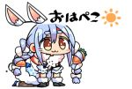 1girl :3 all_fours animal_ear_fluff animal_ears bangs black_gloves blue_hair blush bow braid brown_eyes brown_legwear carrot_hair_ornament chibi closed_mouth commentary_request detached_ears don-chan_(hololive) dress eyebrows_visible_through_hair food_themed_hair_ornament full_body fur-trimmed_dress fur-trimmed_gloves fur_trim gloves hair_between_eyes hair_bow hair_ornament hololive kanikama lowres multicolored_hair pantyhose rabbit_ears short_eyebrows simple_background sun_(symbol) thick_eyebrows translation_request twin_braids twintails two-tone_hair usada_pekora virtual_youtuber white_background white_bow white_dress white_hair