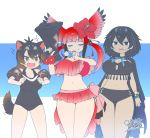 +++ 3girls =3 alternate_breast_size animal_ears bangs bikini bird_tail bird_wings black_eyes black_hair blue_hair blunt_bangs bow breasts brown_eyes brown_hair cape closed_eyes closed_mouth dated extra_ears eyebrows_visible_through_hair fangs flower greater_lophorina_(kemono_friends) hair_between_eyes hair_bobbles hair_flower hair_ornament hands_up head_wings highres holding_megaphone kemono_friends large_breasts long_hair looking_at_another medium_hair megaphone multicolored_hair multiple_girls navel open_mouth pinky_out redhead scarlet_ibis_(kemono_friends) school_swimsuit signature smug standing stomach swimsuit tail tasmanian_devil_(kemono_friends) tasmanian_devil_ears tasmanian_devil_tail thigh_gap twintails two-tone_hair v-shaped_eyebrows wings yoshida_hideyuki