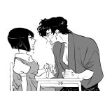 1boy 1girl black_hair commentary_request drinking_straw greyscale japanese_clothes kunou_tatewaki looking_at_another lowres manako_(nosey) milk milk_carton monochrome ranma_1/2 school_uniform short_hair sitting spill tendou_nabiki