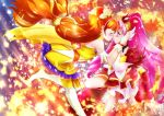2girls arm_strap ballpoint_pen_(medium) blush boots brown_hair closed_eyes cure_scarlet cure_twinkle detached_sleeves dress from_side gloves go!_princess_precure hair_ornament hair_scrunchie hair_tubes highres imminent_kiss long_hair long_sleeves looking_at_another miniskirt multiple_girls pink_hair precure red_eyes red_sleeves scrunchie shiny shiny_hair skirt star_(symbol) thigh-highs thigh_boots traditional_media very_long_hair white_footwear white_gloves white_skirt yellow_dress yellow_scrunchie yu-sha-mashi-alo-fa yuri