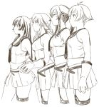 4girls agano_(kantai_collection) asymmetrical_legwear braid cowboy_shot garter_straps gloves highres kantai_collection long_hair midriff monochrome multiple_girls noshiro_(kantai_collection) pleated_skirt ponytail profile sailor_collar sailor_shirt sakawa_(kantai_collection) school_uniform sepia serafuku shirt short_hair single_thighhigh skirt sleeveless sleeveless_shirt standing thigh-highs twin_braids twintails uyama_hajime yahagi_(kantai_collection)