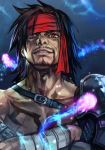 1boy black_hair chest_tattoo crossed_arms facial_hair final_fantasy final_fantasy_x gloves hankuri headband jecht long_hair male_focus muscle red_eyes scar shirtless single_bare_arm single_glove smile solo tattoo upper_body