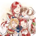 1girl 3boys aglovale_(granblue_fantasy) blonde_hair blush brothers brown_hair closed_eyes family food fruit granblue_fantasy herzeloyde_(granblue_fantasy) hug lamorak_(granblue_fantasy) long_hair mother_and_son multiple_boys open_mouth percival_(granblue_fantasy) red_eyes redhead siblings smile strawberry waltz_(tram) younger