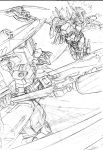 1girl battle commentary_request dual_wielding elbow_gloves frame_arms frame_arms_girl gloves greyscale headgear highres holding hresvelgr_ater hresvelgr_ater_(frame_arms) kumichou_(ef65-1118-ef81-95) long_hair low_twintails mecha mecha_musume monochrome moon open_mouth scythe sketch thighs traditional_media twintails