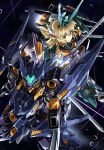 1girl alternate_color baselard beam blonde_hair commentary_request cutlass_(frame_arms) frame_arms frame_arms_girl glowing green_eyes gun headgear highres holding holding_weapon kumichou_(ef65-1118-ef81-95) long_hair mecha mecha_musume sky space star_(sky) starry_sky sword thrusters weapon
