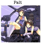 2girls :d bangs bare_shoulders belt black_hair black_legwear blue_hairband blush bob_cut boots breasts brown_belt brown_eyes brown_hair cockpit commentary earrings elbow_gloves footrest gloves hairband highres jewelry kneehighs leaning_forward leotard long_hair lying mecha miniskirt moriguchi_nao_(naonao) multiple_girls necktie on_stomach one_eye_closed open_mouth original red_neckwear seat short_hair short_necktie short_shorts shorts sitting skirt sleeveless small_breasts smile thighs white_gloves white_legwear