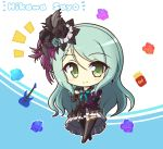 1girl aqua_background aqua_hair bang_dream! bangs black_legwear blush bow character_name collarbone commentary_request dress earrings electric_guitar eyebrows_visible_through_hair feathers floral_background flower food french_fries full_body green_eyes guitar hair_between_eyes hair_feathers hair_flower hair_ornament hand_on_hip hand_on_own_chest highres hikawa_sayo instrument jewelry layered_dress long_hair looking_at_viewer notice_lines ribbon short_sleeves sidelocks simple_background smile solo standing swept_bangs teen_(teen629) thigh-highs two-tone_dress white_background zettai_ryouiki