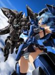 1girl armpits ass_visible_through_thighs black_legwear blue_eyes blue_hair blue_sky clouds commentary_request flying frame_arms frame_arms_girl glowing headgear highres holding_hands interlocked_fingers kumichou_(ef65-1118-ef81-95) long_hair mecha mecha_musume microskirt open_mouth outstretched_arms panties skindentation skirt sky spread_arms striped striped_panties stylet stylet_(frame_arms) thigh-highs thighs underwear