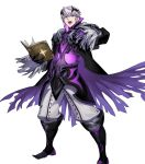 1boy alternate_costume book boots fire_emblem fire_emblem_awakening fire_emblem_heroes full_body gloves highres horns official_art open_mouth robin_(fire_emblem) robin_(fire_emblem)_(male) solo teeth torn_clothes white_hair yellow_eyes