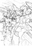 1girl armpits ass_visible_through_thighs clouds commentary_request flying frame_arms frame_arms_girl greyscale headgear highres holding_hands interlocked_fingers kumichou_(ef65-1118-ef81-95) long_hair mecha mecha_musume microskirt monochrome open_mouth outstretched_arms panties sketch skindentation skirt spread_arms striped striped_panties stylet stylet_(frame_arms) thigh-highs thighs traditional_media underwear