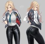 1girl alternate_costume ass badge black_pants blue_neckwear commentary_request grey_background hands_in_pockets haruto_(harut_n) hornet_(kantai_collection) jacket kantai_collection letterman_jacket multiple_views necktie pants simple_background sukajan two-tone_jacket